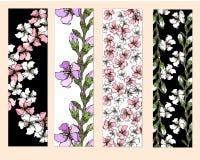 En uppsättning av blom- bokmärker, reklamblad med rosa och vita blommor, stock illustrationer