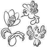 En uppsättning av blomma och två härliga fantasifåglar med krumelurer arkivbild
