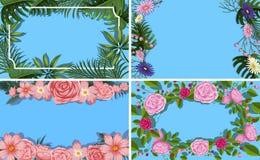 En uppsättning av blommabladgränsen royaltyfri illustrationer