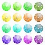 En uppsättning av cirkuläret färgade gräsplan, gul vektorillustration Arkivfoto