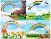 En uppsättning av den berglandskapet och regnbågen stock illustrationer