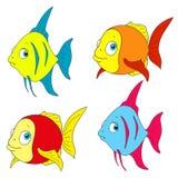 En uppsättning av den färgrika fisken Isolerad vektor Royaltyfri Fotografi