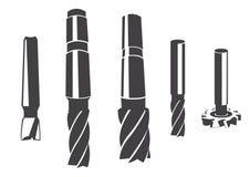 En uppsättning av den olika cylindriska mala skäraren vektor illustrationer