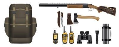 En uppsättning av den realistiska jaktutrustningsatsen vektor illustrationer