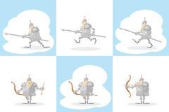En uppsättning av den roliga medeltida riddaren för former med ett spjut i händerna och bågskytten med pilen på vit bakgrund Royaltyfri Foto
