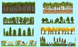 En uppsättning av den sömlösa beståndsdelen för PIXEL med träd och blommor Royaltyfria Foton