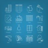 En uppsättning av den tunna linjen symboler för husdesignen, reparation, konstruktion, garnering, renovering Inklusive avgifter a vektor illustrationer