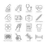En uppsättning av den tunna svarta linjen symboler på vit bakgrund för läkarundersökninghjälpmedel, handlingar och kategorier, in vektor illustrationer