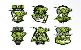 En uppsättning av emblem, emblem, klistermärkear, logoer av dinosauriejakt Rovdjurs- Jurassic, ett farligt fä, ett slocknat djur vektor illustrationer