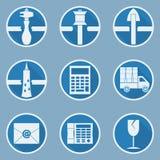 En uppsättning av exponeringsglas som bearbetar symboler i plan stil Arkivfoton