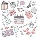 En uppsättning av färgbeståndsdelar för en födelsedag stock illustrationer