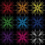 En uppsättning av färger från geometriska linjer i olika färger stock illustrationer