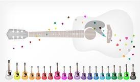 En uppsättning av färgrik bakgrund för akustiska gitarrer Arkivbild