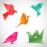 En uppsättning av 5 färgrika fåglar som göras av papper i origamiteknik Ve vektor illustrationer