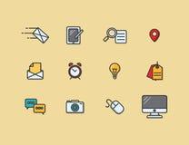 En uppsättning av färgrika symboler Arkivbild