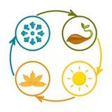 En uppsättning av färgrika symboler av säsonger Arkivfoton