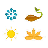 En uppsättning av färgrika symboler av säsonger Royaltyfri Foto
