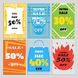 En uppsättning av försäljningsbaner för en website och befordringar i diversehandel Royaltyfri Bild