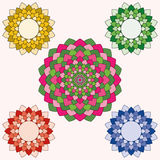 En uppsättning av fem färgrika lotusblommor stock illustrationer