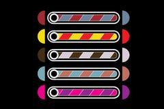En uppsättning av fem musikband av nedladdningar av olika färger vektor illustrationer