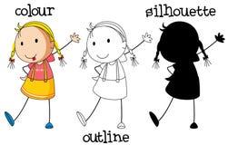 En uppsättning av flickan med olik grafisk design royaltyfri illustrationer