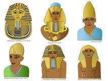 En uppsättning av forntida egyptiska Pharaohs Arkivfoton