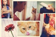 En upps?ttning av foto av begreppet av livsstilen, i stilen av instagram royaltyfri bild