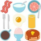 En uppsättning av frukostsymboler Arkivbilder