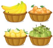 En uppsättning av frukt i korg stock illustrationer