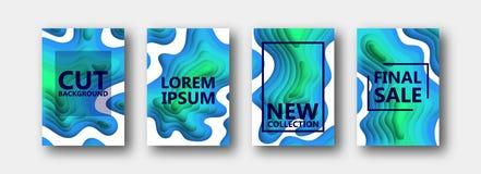 En uppsättning av fyra alternativ för baner, reklamblad, broschyrer, kort, affischer för din design, i blått-gräsplan signaler royaltyfri illustrationer