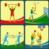 En uppsättning av fyra symboler ett sporttema Fäktning badminton, basket, tyngdlyftning Arkivbild