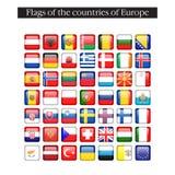 En uppsättning av fyrkantiga symboler för flaggor askfat 10 eps royaltyfri illustrationer