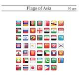 En uppsättning av fyrkantiga symboler för flaggor askfat 10 eps stock illustrationer