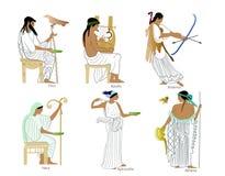 En uppsättning av gammalgrekiskagudar och gudinnor Royaltyfri Fotografi