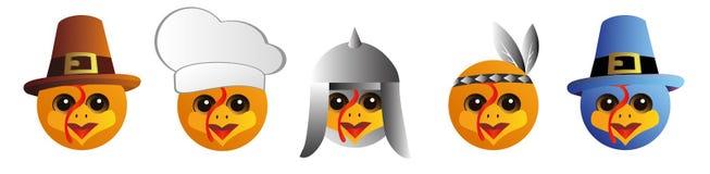 En uppsättning av grafiska emoticons - kalkon Emoji samling Leendesymboler royaltyfri illustrationer