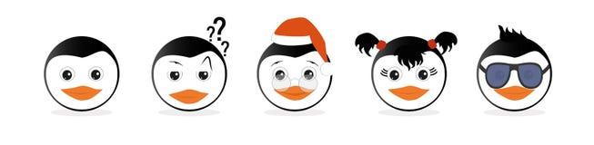 En uppsättning av grafiska emoticons - pingvin Emoji samling vektor illustrationer
