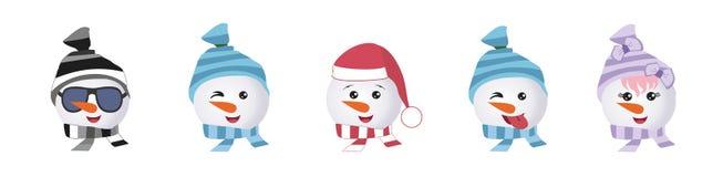 En uppsättning av grafiska emoticons - pingvin Emoji samling royaltyfri illustrationer