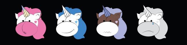 En uppsättning av grafiska emoticons ställde in - enhörningen Emoji vektorsamling Leendesymbolsrengöringsduk royaltyfri illustrationer