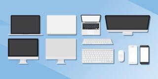 En uppsättning av grejer Datorer, telefoner och minnestavlor Royaltyfri Bild