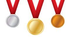 En uppsättning av guld, brons och silver Utmärkelsemedaljer som isoleras på vit bakgrund Vektorillustration av vinnarebegreppet stock illustrationer