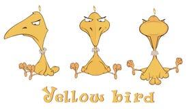 En uppsättning av guling gör en birdie tecknade filmen Royaltyfria Bilder