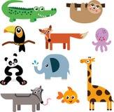 En uppsättning av gulliga djura symboler Fotografering för Bildbyråer