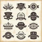 Fastställda högvärdiga kvalitets- etiketter för tappning Arkivfoto