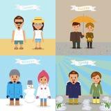 En uppsättning av illustrationer av olika säsonger Royaltyfri Bild