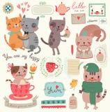 En uppsättning av illustrationer med gulliga katter Arkivbilder