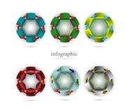 En uppsättning av infographics i form av cirklar Fotografering för Bildbyråer