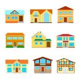 En uppsättning av isolerade hus royaltyfri illustrationer