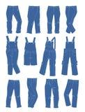 En uppsättning av jeans för små flickor Arkivbild