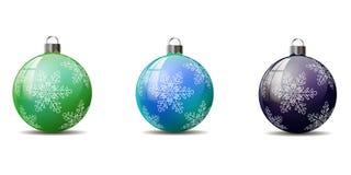 En uppsättning av julgranbollar Royaltyfri Bild