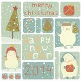 En uppsättning av julklistermärkear. Arkivbild